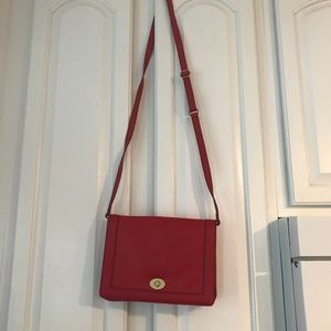 J Crew red leather crossbody bag